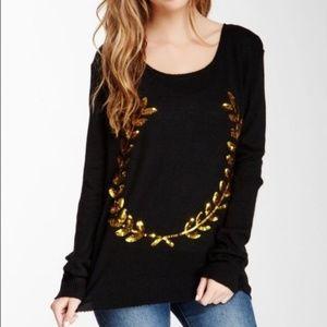 NEW Wildfox Sweater Gold Sequin Laurel Angora